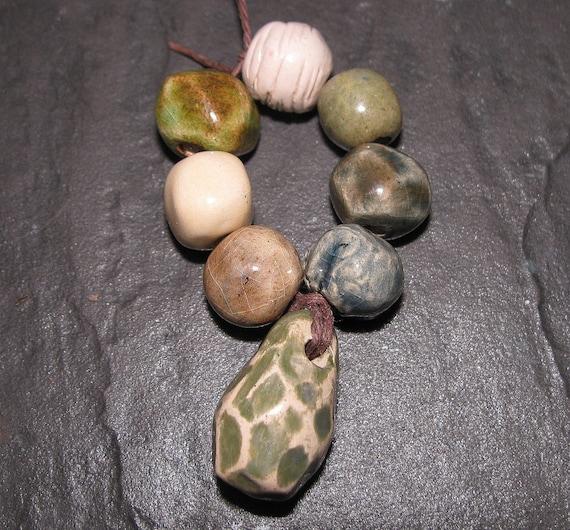 Handmade Ceramic Beads x 7 & Faceted Pendant Set Green Sage Ivory