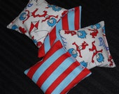 Thing 1 & Thing 2 Dr. Seuss Bean Bags - Party Game - Party Favor - Xtra Sturdy Double Bagged - Red and Turquoise - Ships Priority