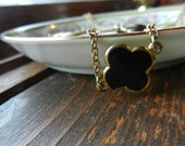Vintage Black and Gold Charm Necklace