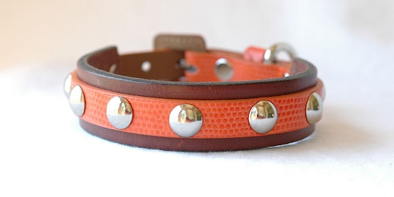 RESERVED for Rachel Leather Dog Collar Brown and Orange with Silver Domed Handset Rivets