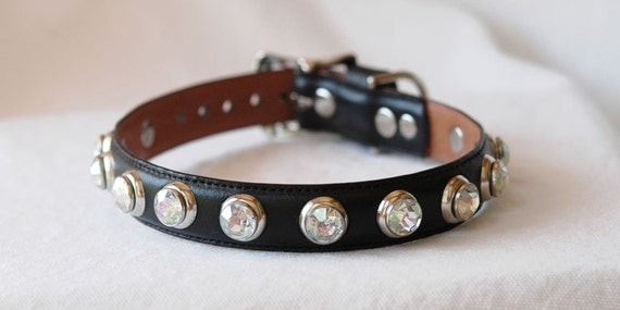 Black Leather dog Collar with Sparkle and Bling -  Reclaimed Ralph Lauren Belt Leather OOAK
