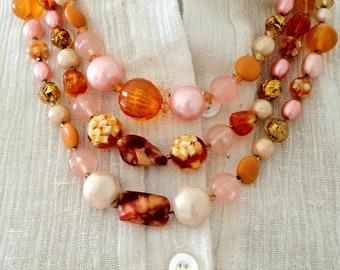 Vintage 1950s Japan Lucite Orange Bib Multi-Strand Necklace - FREE U.S. SHIPPING!