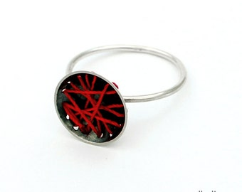 BOMBYX MORI red silk sterling silver oxidised ring