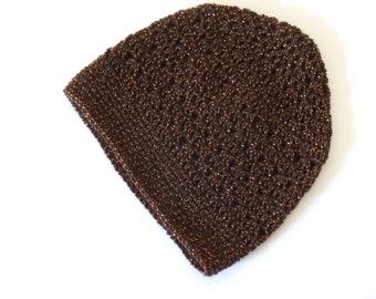 Sale Brown Crochet Beanie Brown Sparkle Crochet Hat (HAT103 Copper)
