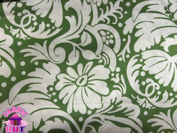 140110184- Blank Quilting Ascot Collection Floral Moss Green Cotton By The Yard