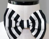 Black & white stripe bow tie