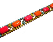 One of a Kind Neon Hand painted Vintage Rhinestone Bracelet - Rainbow Bliss (ReSErVeD)