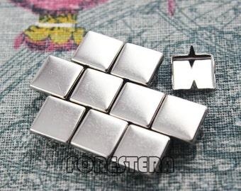 100Pcs 10mm Silver Flat Square Studs (SFQ10)