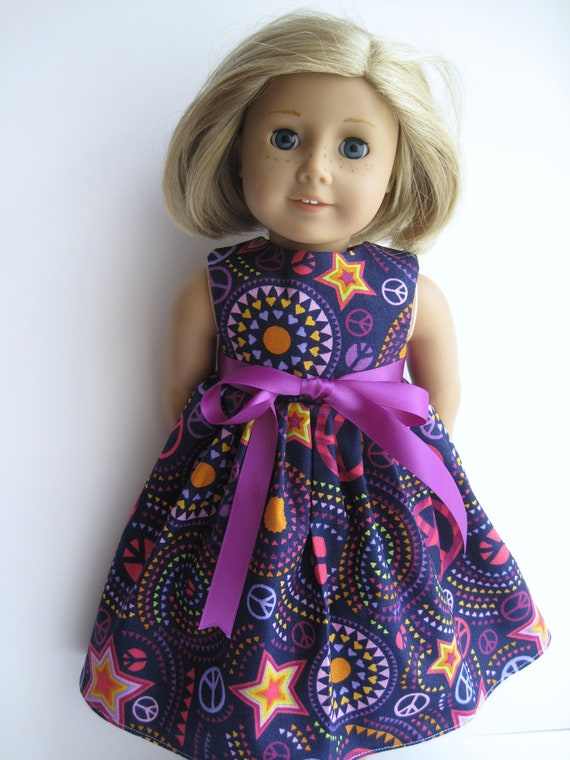 Purple Groovy Sleeveless Dress for Your American Girl Doll