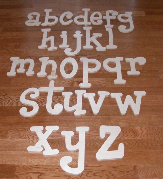 Ready to SHIP- 8 inch Unpainted Wooden  Letters-Wood Letters-Wall Letters-Unfinished-Custom size available-WHIMSICAL Font