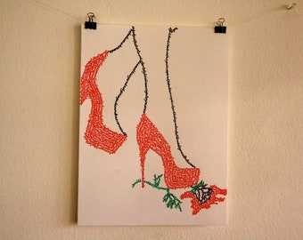 Red High Heel's in Calligraphy