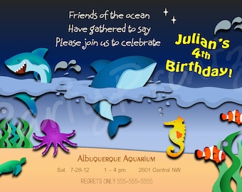Printable Under the Sea -  Invitations -  Personalized -  Custom -  Aquarium Birthday