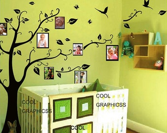Tree with picture frames - Vinyl Wall Decals Tree Sticker Art, Wall Mural,Wall Hanging Children bedroom nursery