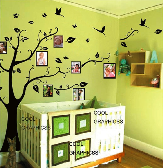 Tree with picture frames vinyl wall decals tree sticker art for Bedroom wall frames