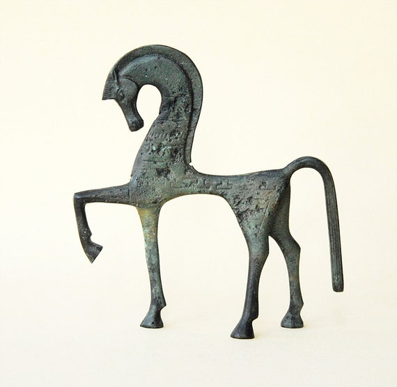 Bronze Horse Statue, Greek Geometric Metal Art Sculpture, Bronze Horse Sculpture, Museum Quality Art, Greek Art, Ancient Greece, Equine Art