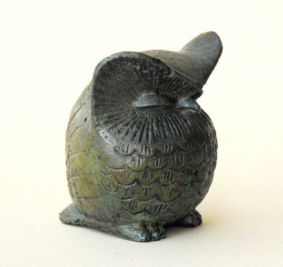 Bronze Sculpture Sizable Owl, Greek Metal Art Sculpture, Museum Quality Art, Greek Art, Goddess Athena Symbol, Bird of Wisdom, Metal Bird