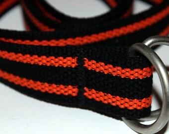 Black and Orange Belt Black and Orange D Ring Belt Striped Webbing Belt Slide Buckle Belt Military Belt Stripe D Ring Belt Black Canvas Belt