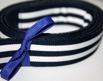 "Dark Navy and White Belt Striped Ribbon Preppy Adult Belt 1"" Wide"
