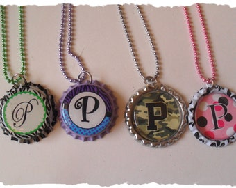 Clearance Your Choice Of Initial P Bottlecap Necklace Pick your Style
