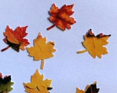 50 medium FALL LEAVES Hand punched die cuts party decorations,Invitations,scrapbooking, HALLOWEEN cards