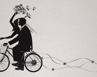 Wedding Bicycle Silhouette Thank You Note Card