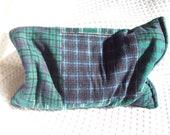 Microwavable Corn Bag, Corn Heating Pad,  Green & Navy Plaid Bag, Hot Cold Pack
