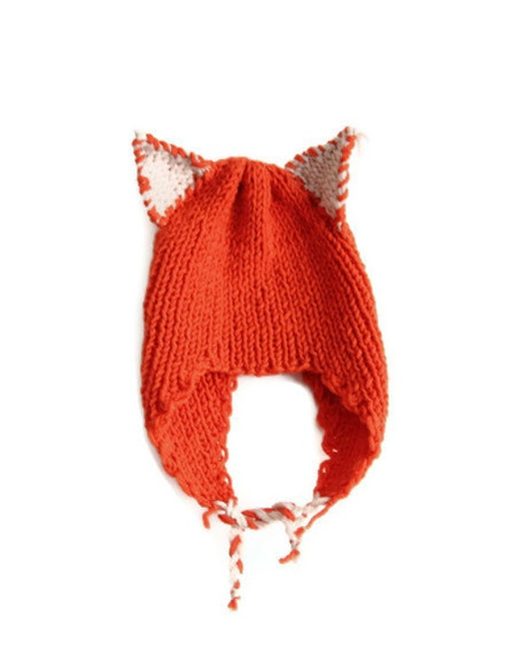 For 2 years For 5 years hand knitted Kitty Cat Eared Children Hat-orange .