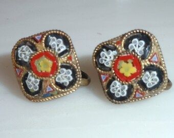 Earrings Two Pair Mosaic and Sparkle Vintage Jewelry Earrings