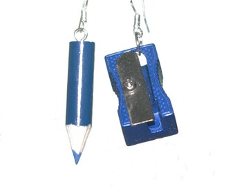 Handmade Blue Pencil & Sharpener Earrings Quirky Unusual Gift Ideas Kitsch Emo