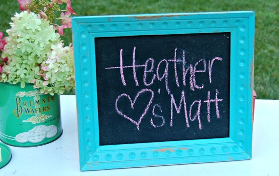 Repurposed turquoise Framed Chalkboard Sign Vintage Wedding Shabby Chic Decor