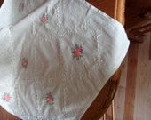 Vintage Crisp White Embroidered Pattern Tablecloth with Blue and Pink Embroidery