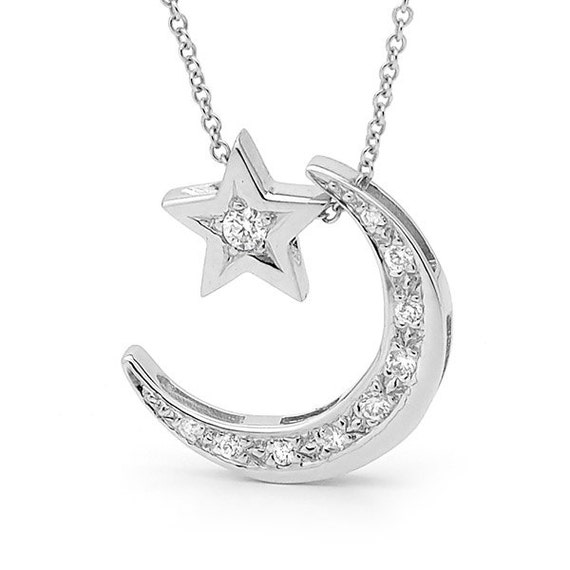 Diamond And White Gold Crescent Moon Necklace With Diamond