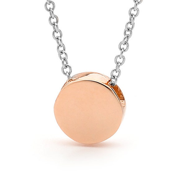 Rose Gold disc necklace, Small Baby Rose Gold disc Pendant on a sterling silver cable chain