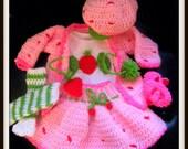 Strawberry Shortcake Crochet Dress/Sweater /Skirt Hat Booties Diaper Cover Leg Warmers Made To Order