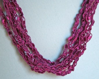 Magenta  - Crocheted Necklace