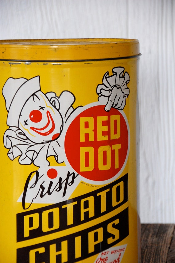 "Vintage ""Red Dot"" Potato Chip Tin Madison, Wisconsin"