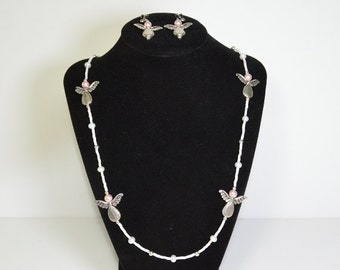 Pretty Pink Angel Flight Necklace And Earrings Set - Clearance Reduced 50%