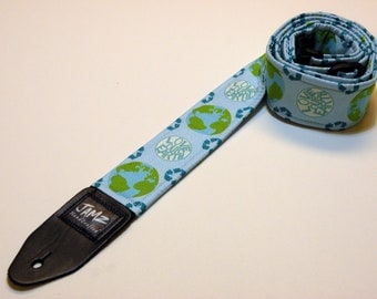 PLUS 38% Off!  Earth Day Guitar Strap - PLANET EARTH - Clearance - Recycle - Save the Earth