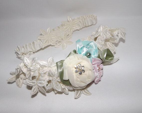 Victorian Flower Garden Wedding Garter Set. Ivory Vintage Lace Wedding  OOAK  Luxe couture garters