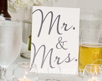 Mr. & Mrs. Sweetheart Table Sign - Fancy Table Signs - Perfect for your Wedding Reception - Matching Table Numbers Available SS03
