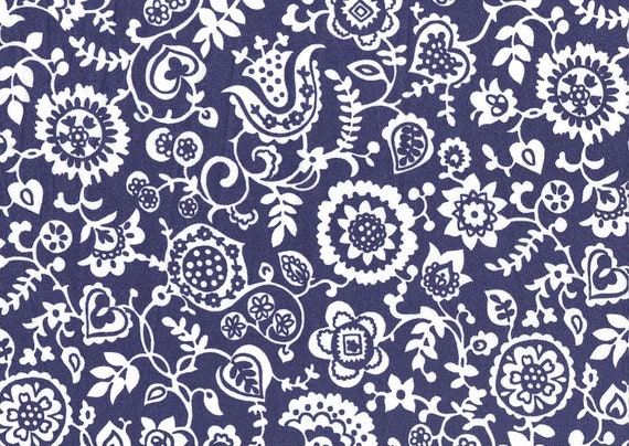 Monochrome blue and white 1950s screen print inspired 'Emily Bowyer D' Liberty of London Fat Eighth monochrome floral Liberty print