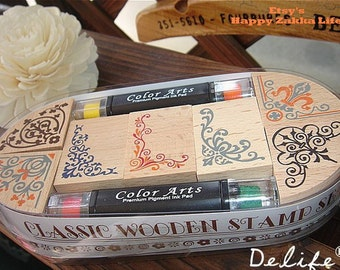 Wooden Rubber Stamp Set - Decorative Border - A Set - 7 Stamps and 2 Ink-pads
