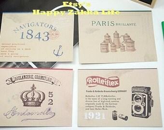 Envelope and Letter Paper Set - Vintage - 4 envelopes & 8 letters - 4 designs by random to send - 1 set