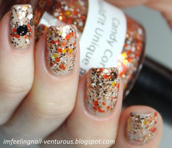 Candy Corn: Custom blended Glitter Nail Polish/ Lacquer