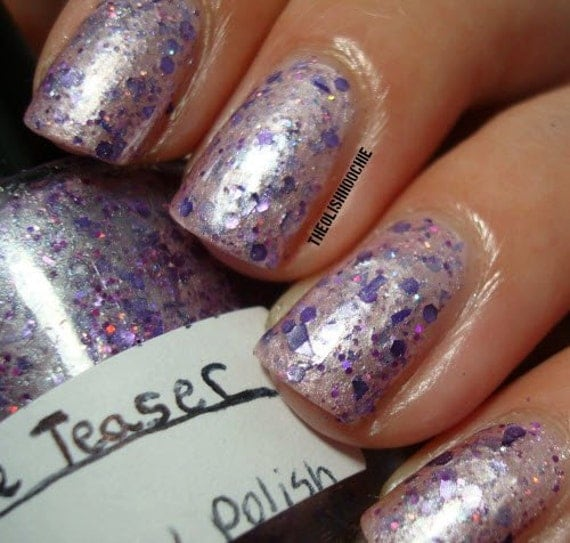 SALE Purple People Teaser: Nail Polish Custom blended Glitter Lacquer