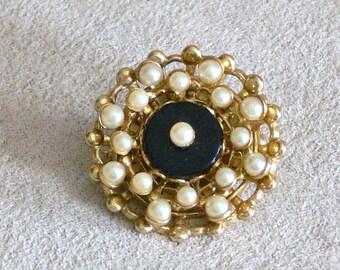 BLACK ENAMEL  and pearl brooch