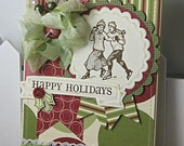 Shabby Chic Winter Skaters Holiday Christmas handmade card stamped