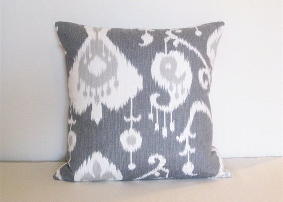 CLEARANCE Ikat Decorative Pillow Cover. 16 x 16 Inch Magnolia Gray Taupe and Ivory Couch Pillow Cover.