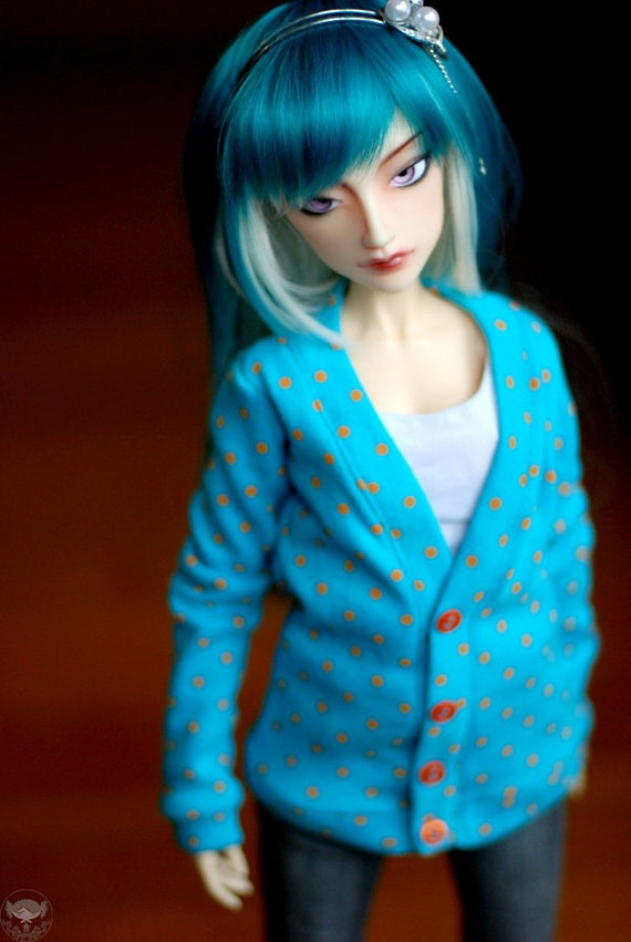 SD Turquoise And Orange Polka Dot Cardigan For BJDs - Last One