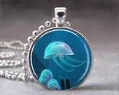 Jelly Fish Necklace, Sea Life, Ocean, Beach Nautical, Photo Pendant, Glass Dome Pendant, Art Pendant Necklace- no. 992-3